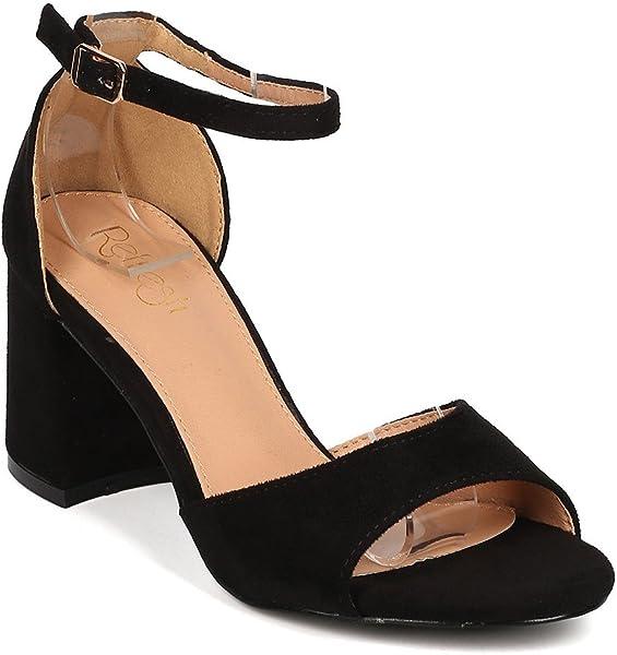 c9cbd4b2ca Amazon.com | Alrisco Women Faux Suede Open Toe Ankle Strap Block Heel Sandal  GI40 - Black Faux Suede (Size: 5.5) | Heeled Sandals