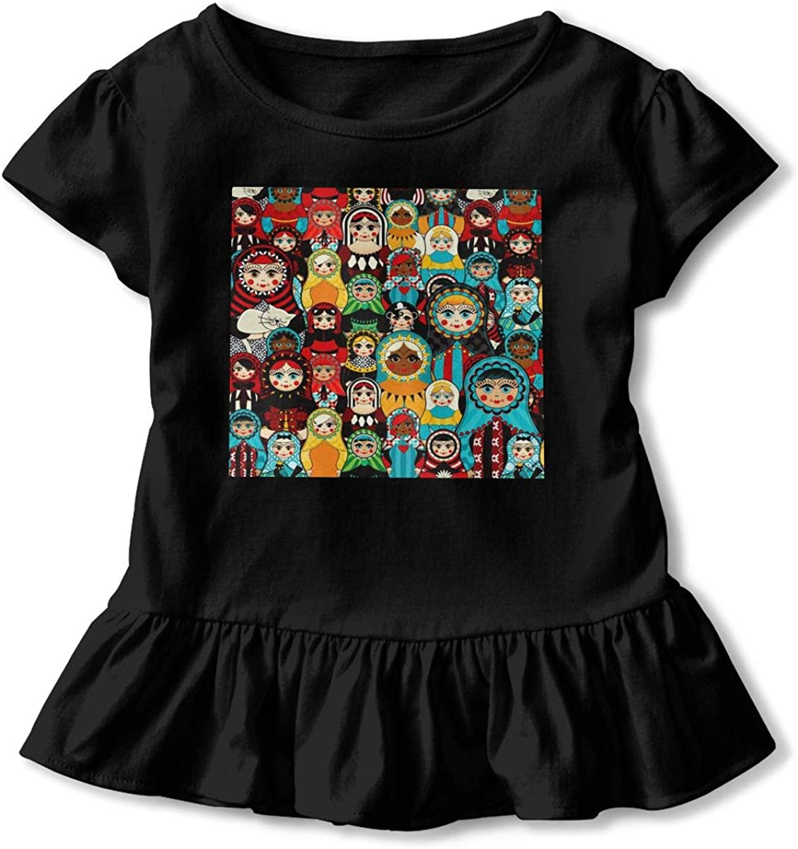 Lponvx Russian Dolls Girl Baby Girl Short Sleeve T-Shirt Flounced Graphic Outfits for 2-6 Years Old Baby