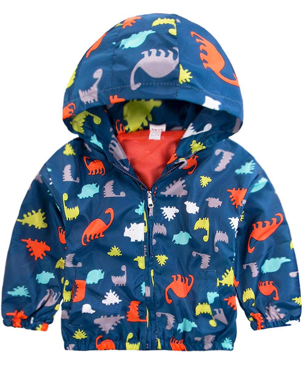 Little Boys Dinosaur Printed Jacket, Zip Hoodie Mesh Lined Casual Hooded Windbreaker for Toddler 8035002