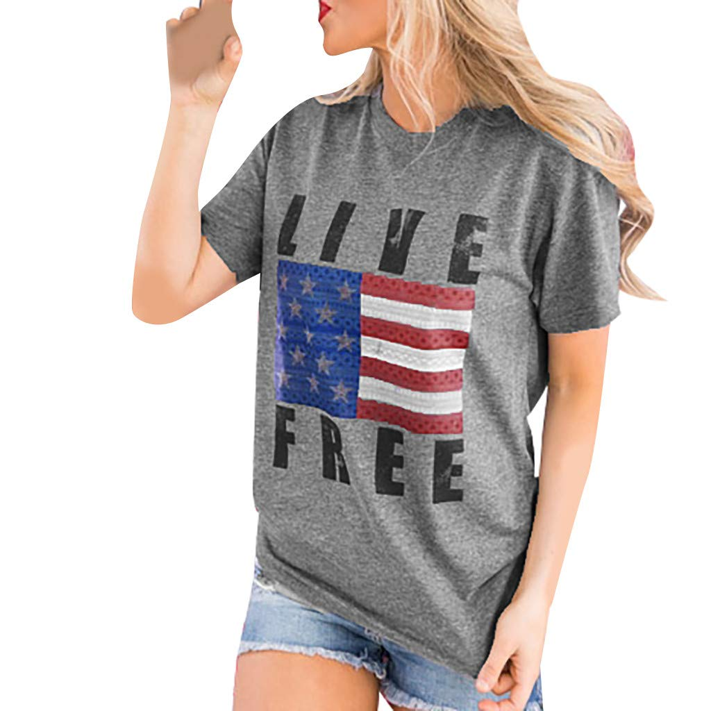 Amazon.com: refulgence Women Adult American Flag Baseball Printed T-Shirt Short Sleeve Casual Tops Blouse: Clothing