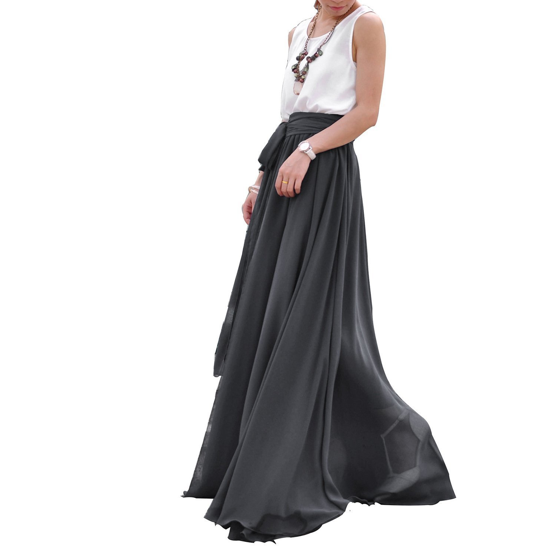 Melansay Women's Beatiful Bow Tie Summer Beach Chiffon High Waist Maxi Skirt XL,49#