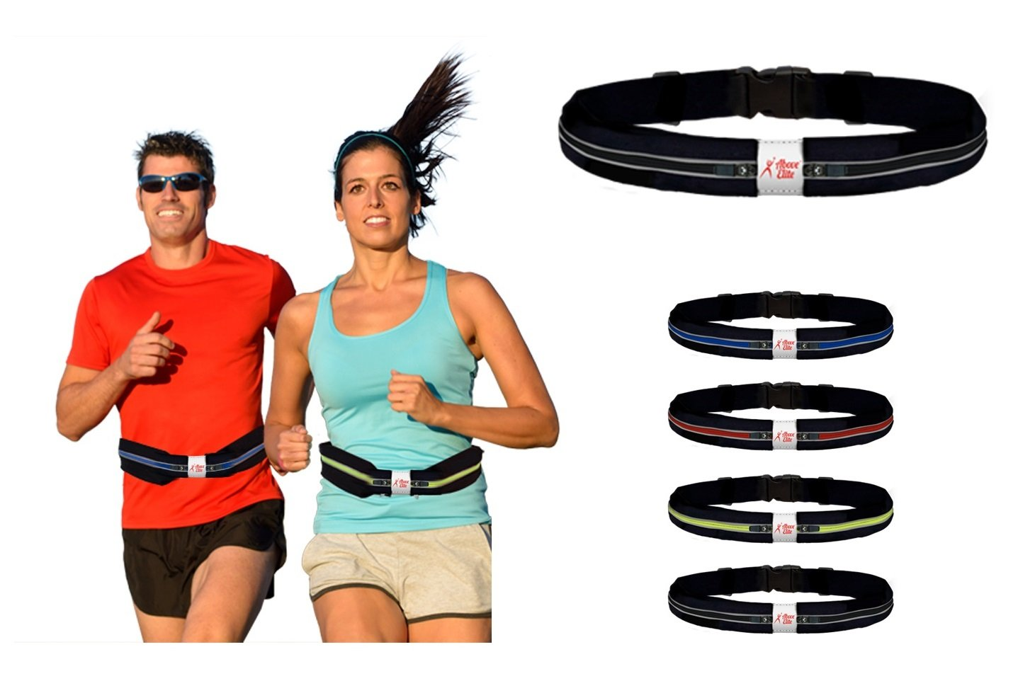 Above Elite Running Belt for Large Phone - Best Reflective, Expandable Double Pouch Waist Pack– Fits iPhone 8 7 6 Plus, X & All Android Smartphones, Water/Sweat Resistant -Unique Gift for Runners