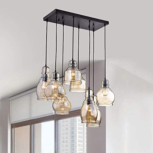 Linear Chandelier Centerpiece For Dining Rooms And Kitchen Areas 24 Long Light Fixture Provides Ample Lighting Round Indoor Hanging Lamp Set Descends From Ceilings To Create Modern Farmhouse Feel