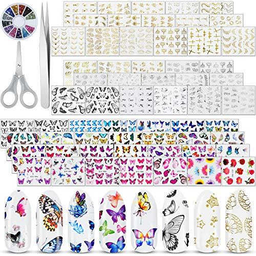 Stikers uñas (60h) multicolor/oro/plata +gemas/pinza/tijera