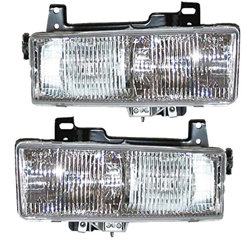 96 97 98 99 Compatible with Chevy Express Van Headlight Headlamp Composite Halogen Front Head Light Lamp Set Pair Left Driver And Right Passenger Side