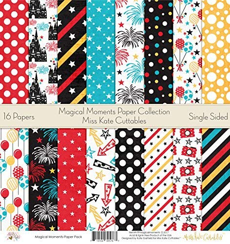 "Pattern Paper Pack - Magic Moments - Scrapbook Premium Specialty Paper Single-Sided 12""x12"" Collection Includes 16 Sheets - by Miss Kate Cuttables"
