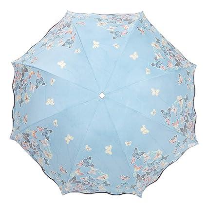 Lirener Paraguas de Cambio de Color(Mariposa), Paraguas Plegable para Viaje con 8 Varillas, Un Paraguas Mágico, Paraguas Negro antiviento, Compacto y ...