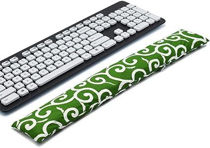 Almohadilla de apoyo para teclado y ratón, lavable, para túneles carpianos, trabajadores de oficina, masaje Ergobeads y tela de algodón (hierba).