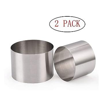 Popowbe - 2 moldes redondos de acero inoxidable para galletas de 6 cm con forma redonda para molde de galletas, fondant, jalea, cortador de tartas: ...