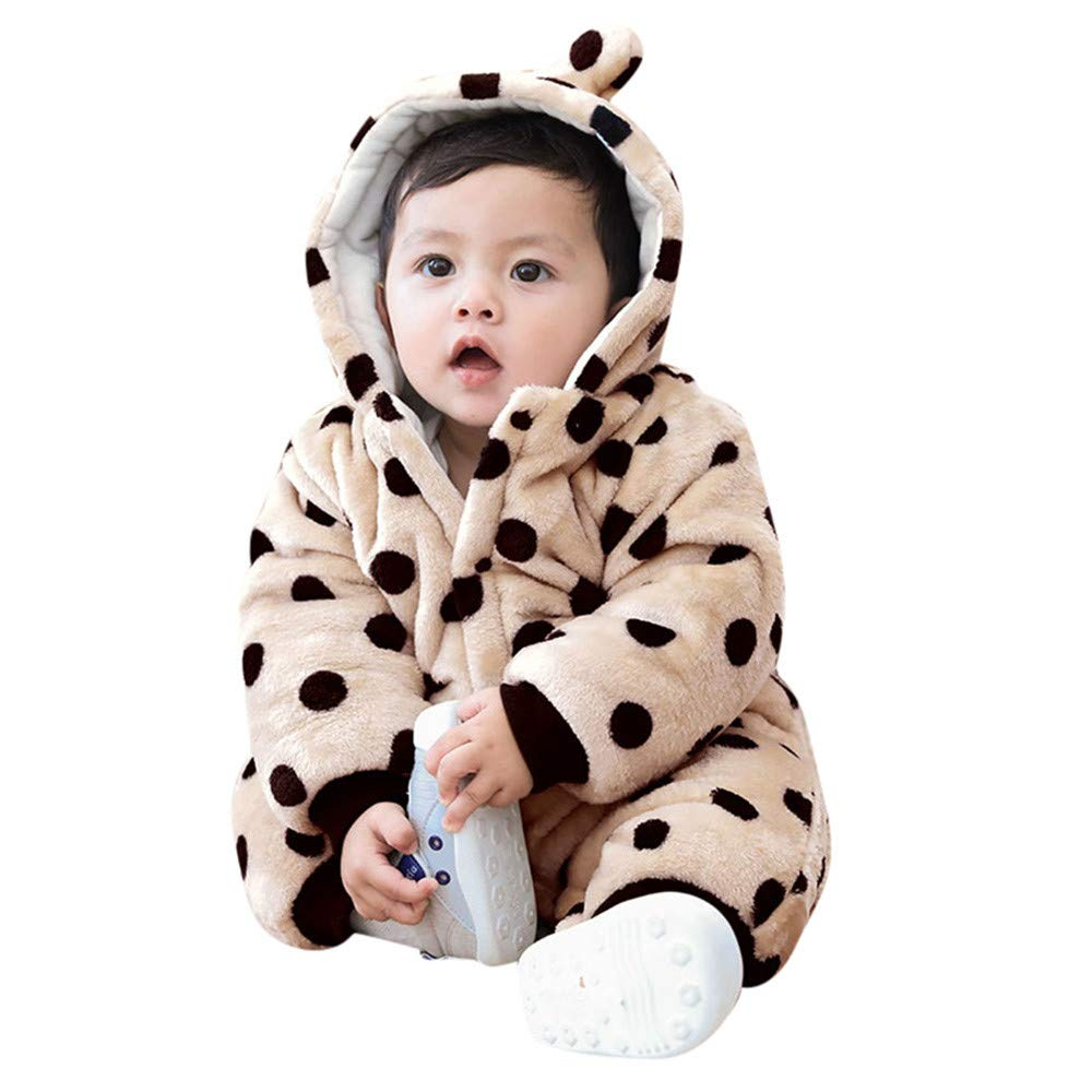 Sannysis 0-3 Month Onesies Infant Baby Girls/&Boys Long Sleeve Fluffy Hooded Jumpsuit Romper Outfits Clothes