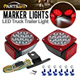 Submersible Clear Lens Square LED Trailer Taillight, Universal Under 80'' LED Trailer Light with 25' Wiring Harness Complete Kit, Great for Truck Boat Trailer Camper RVs(Left+Right)