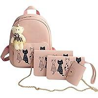Powlance 4pcs Cat Printed Girls PU Backpack Shoulder Bag Clutch Purse Bag(Pink)