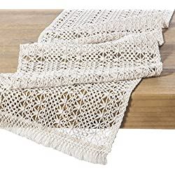 "Ling's moment 12"" x 102"" 8.5 FT Elegant Lightweight Hollow Mesh Macrame Table Runner Cream Crochet Lace Table Cloth for Beach Farmhouse Wedding Bedroom Kitchen Coffee Table Decor"