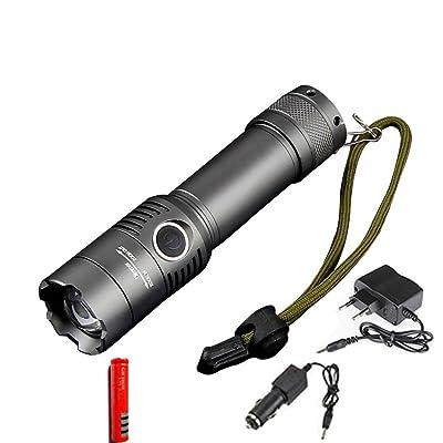Wolfway CREE XM-L T6 conduit Lampe de Poche 3800Lumens conduit Torche Zoomable imperméable tactique Lampe de Poche pour 3xAAA ou 1x18650 batterie Pour Camping Vélo Travailler Chasse Pêche Equitation Randon