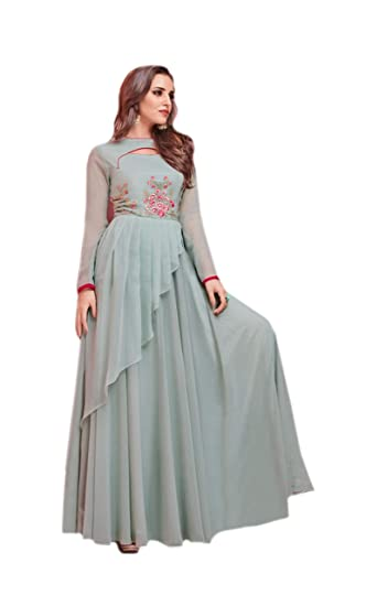 c6a2465049 The Unique Style Designer Gown With Latest Neck Design And Fancy Pattern  Western Style Gown For Women From Shahin Fashion Trendz.: Amazon.in:  Clothing & ...