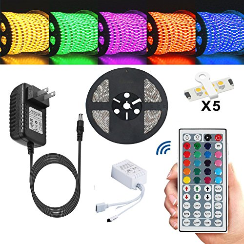 Led Strip,TOPMAX 5050 16.4ft/5m RGB Led Strips Lighting Kit,Led Strip Lights+12V 3A Charger Power Supply(built-in IC and fuse)+44 Key Remote