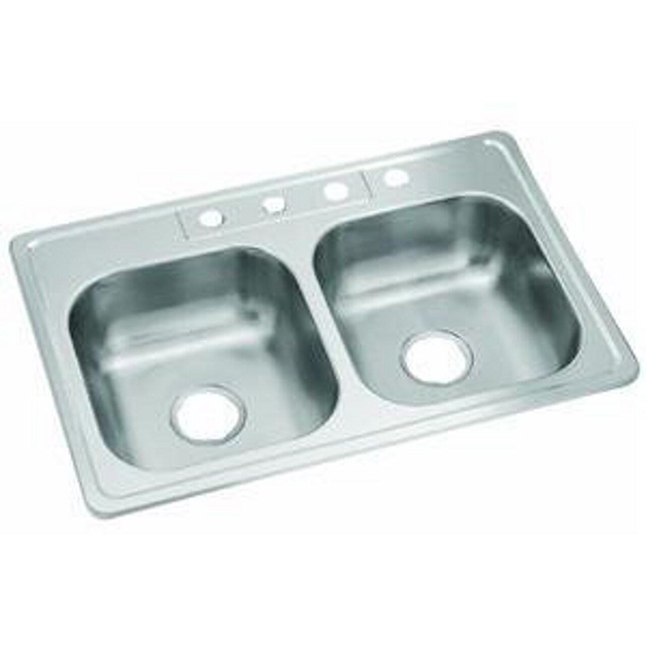 STERLING 14633-3-NA Middleton 33-inch by 22-inch Top-mount Double Equal Bowl Kitchen Sink, Stainless Steel