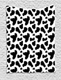 Cow Print Tapestry, Cow Hide Pattern with Black Spots Farm Life with Cattle Camouflage Animal Skin, Wall Hanging for Bedroom Living Room Dorm, 60 W X 80 L Inches, White Black