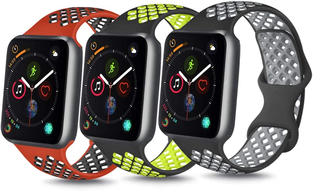 YILED[Pack3]Bands Compatible with Apple Watch Band 38mm 40mm 42mm 44mm, Soft Silicone Replacement Band for iWatch Series 5 4 3 2 1 (Black volt/Red black/Gray, 38mm/40mm S/M)