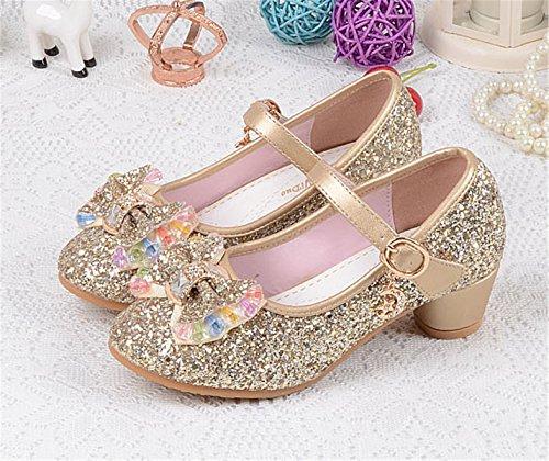 YOGLY Niñas Zapatos de Tacon de Lentejuelas Disfraz de Princesa Niña Zapatilla de Baile Dorado