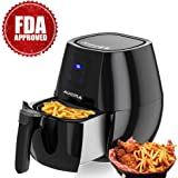 Air Fryer 4.3 Quarts Hot Airfryer Cooker with Cookbook Digital Timer Temperature Control Touchscreen Auto Shut off & Timer Dishwasher Safe No Oil Healthy FDA Approved