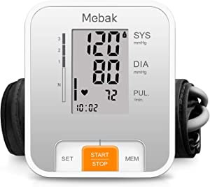 Blood Pressure Monitor Upper Arm, Mebak Automatic Digital BP Blood Pressure Machine Cuff Kits for Home Use, Heartbeat Pulse Hypertension Detector Monitoring Meter with Large Display, 2x120 Memory
