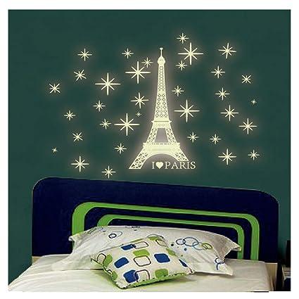 Kuke Wandtattoo Leuchtender Paris Tower Aufkleber Wand ...