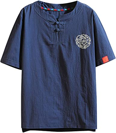 Camiseta de Manga Corta para Hombre, diseño Vintage con Parches de Lino y Bordados (Tallas Regulares y Grandes y Altas) Verde Azul Marino 36: Amazon.es: Ropa y accesorios