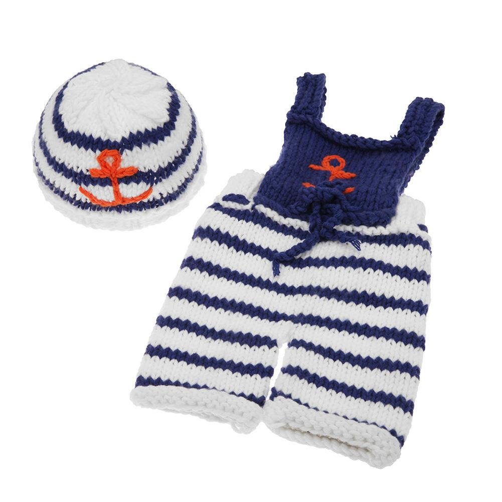 984555ef66e5 Amazon.com   Iainstars 2pcs Set European Newborn Baby Photography Clothing  Knitted Overalls Hat   Baby