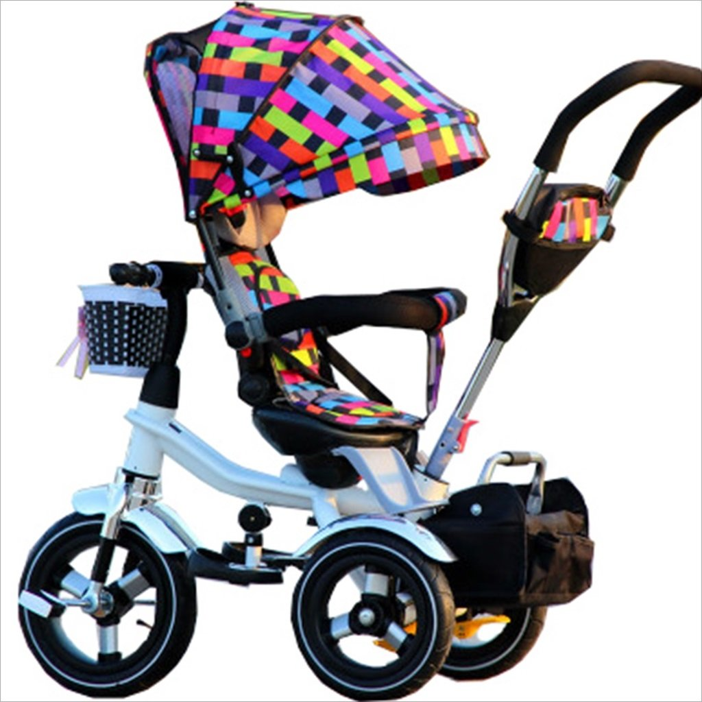 子供の屋内屋外の小さな三輪車自転車の男の子の自転車の自転車6ヶ月-5歳の赤ちゃん三輪車の天井、インフレータブルホイール/回転座席 (色 : 4) B07DV6MYLV 4 4