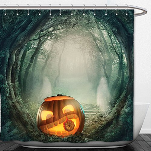 Interestlee Shower Curtain Halloween Decorations Collection Big Scary Halloween Pumpkin in Enchanted Forest Mystic Twilight Party Themed Orange Teal