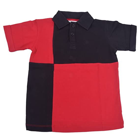 95e88d440364 Kidopedia Boys Cotton Red-Black Asymmetric Polo T-Shirt   Kids Casual Wear    Regular Fit: Amazon.in: Clothing & Accessories