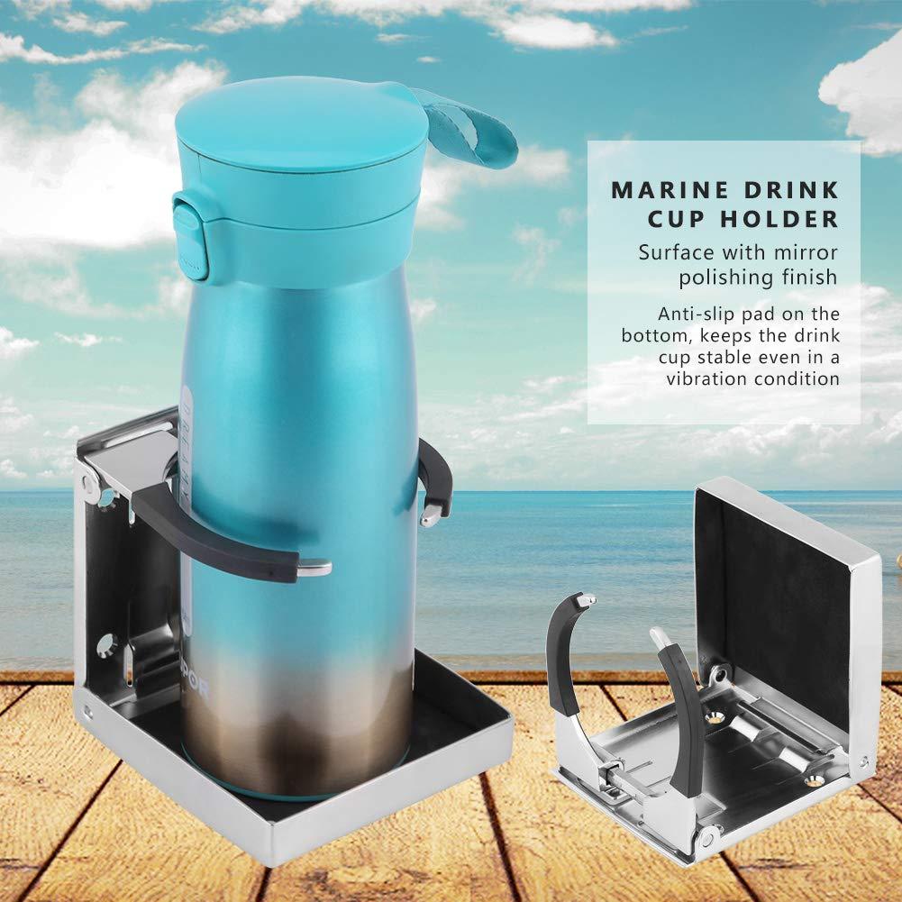 Fydun Sostenedor de botella de copa de bebida plegable de acero inoxidable para Marine Boat Truck RV ajustable