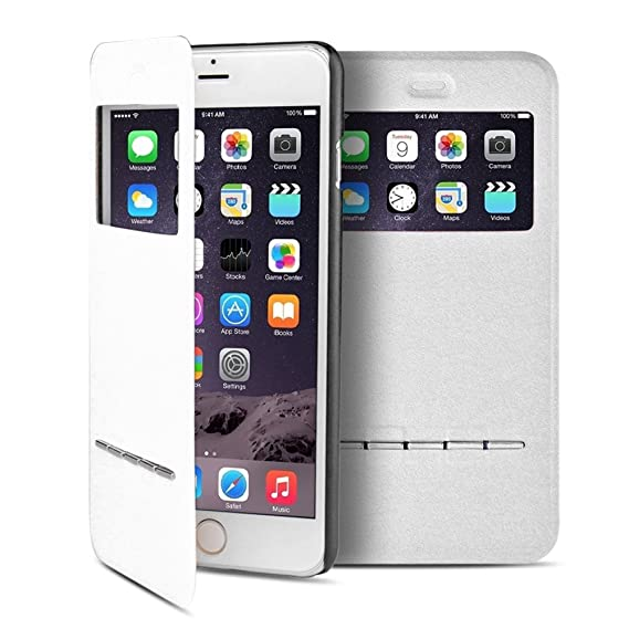 low priced c96e7 96423 TNP iPhone 6s Plus Case (White) - Slim Fit Synthetic Leather Smart Window  View Metal Front Flip Cover Stand Folio Case for Apple iPhone 6S Plus and  ...