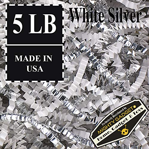 Mighty Gadget (R) 5 LB Premium White Silver Metallic Mix Crinkle Cut Paper Shred Filler for Gift Wrapping & Basket Filling