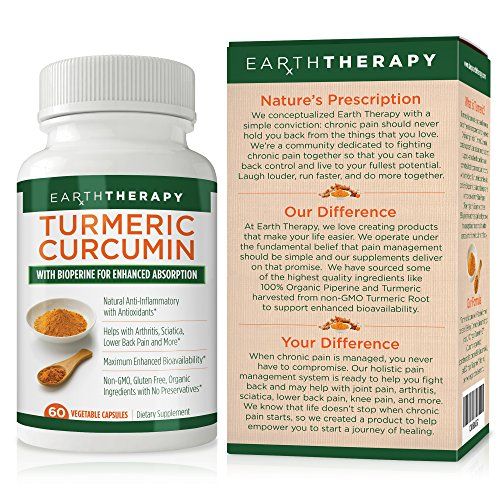 Tumeric Curcumin Supplement with Bioperine For Enhanced Arthritis Pain Relief & Absorption - Organic Ingredients For Smarter Nutrition & Living - For Men, Women & Families - 60 Capsules