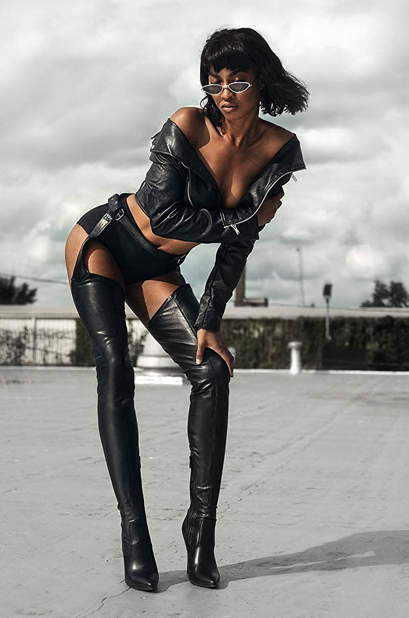 41e071df689f4 Amazon.com: AZALEA WANG Black Faux Leather Stiletto Heel Thigh High Sexy  Belted Suspender Chaps Boots: Clothing