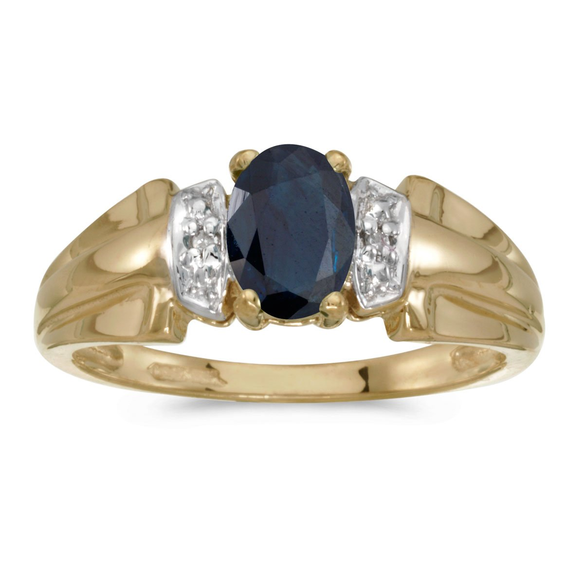14k Yellow Gold Oval Sapphire And Diamond Ring (Size 8)