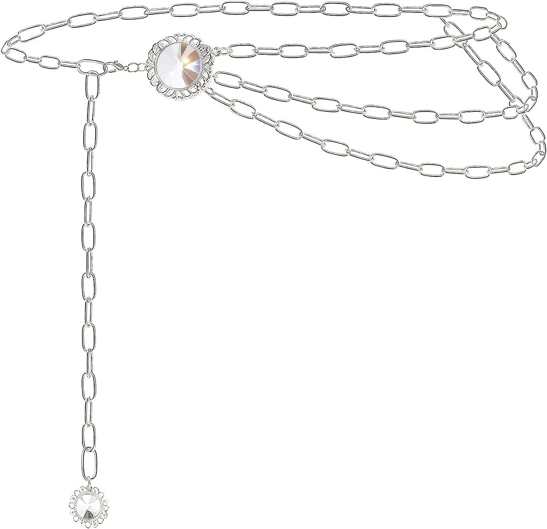 Suyi Cinturones De Cadena para Mujer Cinturón De Cadena De Cintura De Diamantes De Imitación Cadena De Eslabones Multicapa