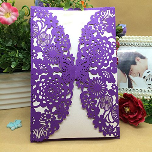 50PCS Pear Paper Laser Cut Bronzing Wedding Baby Shower Invitation Cards with Butterfly Hollow Favors Invitation Cardstock for Engagement Birthday Graduation (Purple)