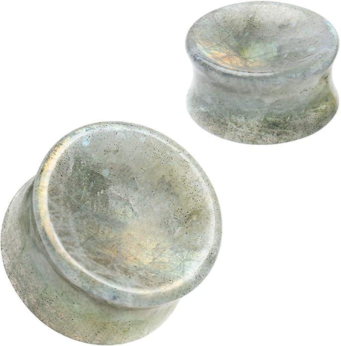 916g labradorite plugs concave double flared stone plugs 2g 0g 00g 58g white labradorite plugs 34g 12g Rainbow moonstone plugs