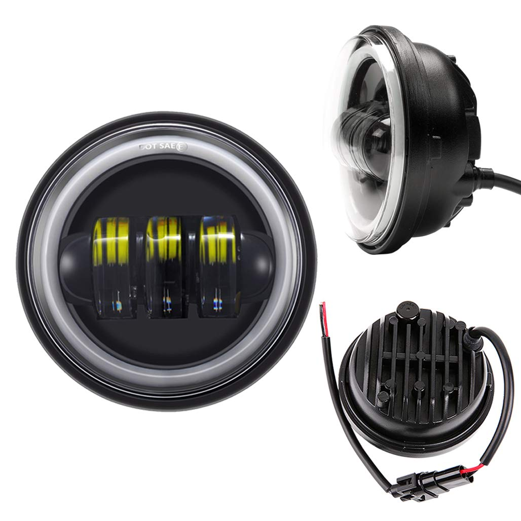 2019 New Version 7 Halo LED Headlight 4.5 Fog Passing Lights with DRL Motorcycle Headlamp Set for Harley Davidson Electra Glide Road King Black