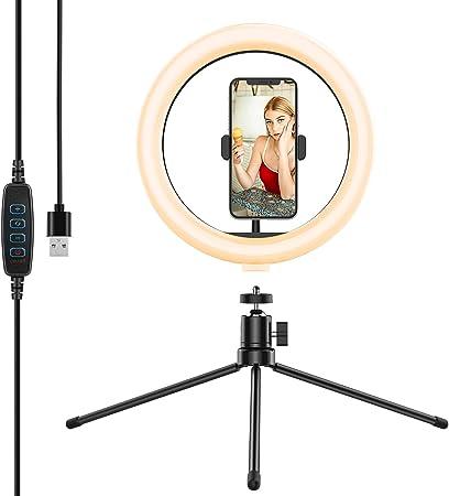Anozer 10 2 Selfie Led Ringlicht Mit Stativ 6500k Kamera