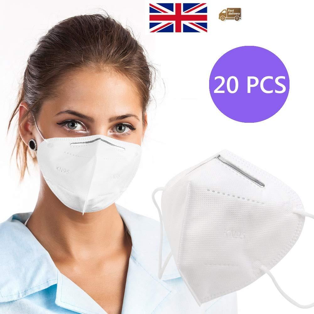 20PCS Mascarilla de Protección Antipolvo UK Stock- Blanco