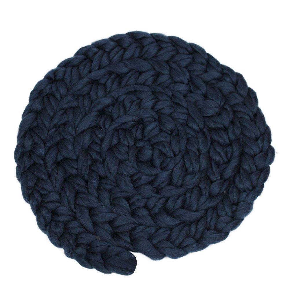 Fenical Newborn Baby Hand-woven Braid Rugs Blanket Photography Props Twisted Braids (Dark Blue)