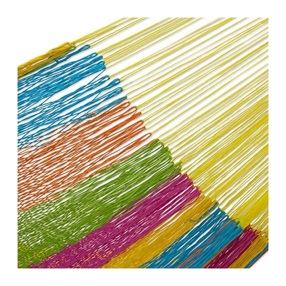 "NOVICA Multicolor Cotton and Nylon Rope Mayan Hammock 'Yucatan Feast' (Double) - Size: 78"" L x 75"" W Authentic: an original NOVICA fair trade product in association with National Geographic. Certified: comes with an official NOVICA Story Card certifying quality & authenticity. - patio-furniture, patio, hammocks - 61GK3Xbo1pL. SS570  -"