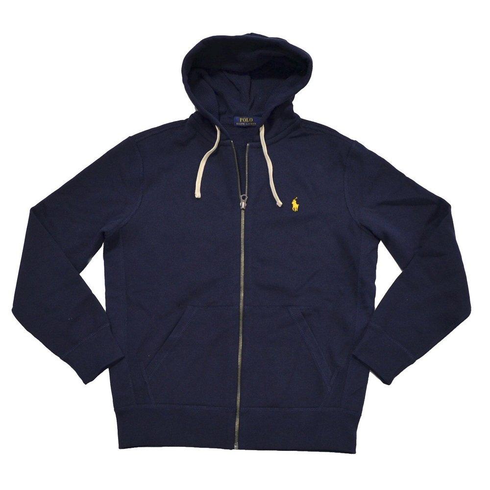 Polo Ralph Lauren Classic Full-Zip Fleece Hooded Sweatshirt (XX-Large, Navy/Yellow Logo)
