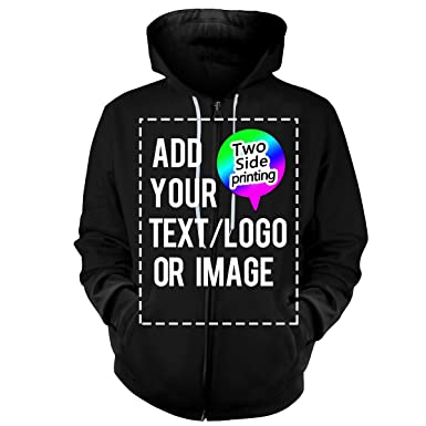 26dad11e0 Amazon.com: Design Your OWN Hoodie-Custom Full-Zip Hoodies Zipper  Sweatshirts Hooded Team Sweaters: Clothing