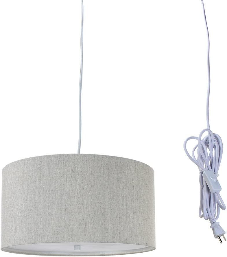 2 Light Swag Plug-in Pendant 14 w Textured Oatmeal with Diffuser, White Cord
