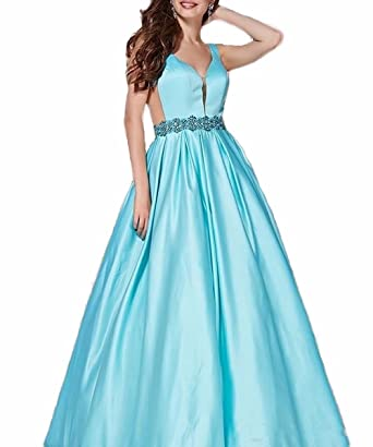 FNKS CRAFT Womens Cap Sleeve Open Back Prom Dresses With Full Satin A-Line Party